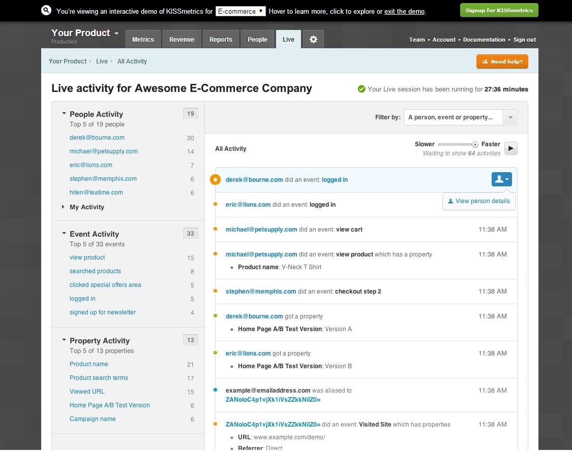 kissmetrics dashboard
