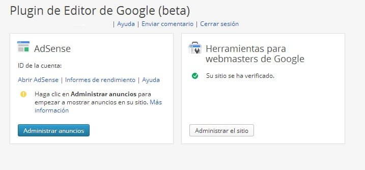 administrar anuncios google publisher plugin