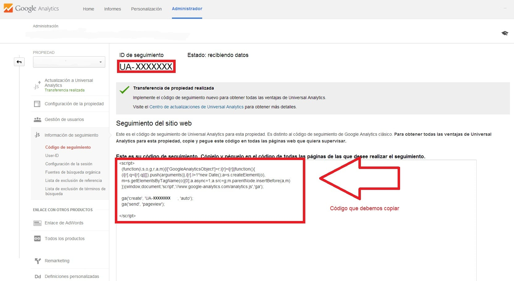 Google analytics copiar codigo