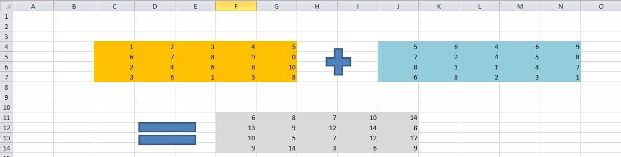 Suma de matrices excel