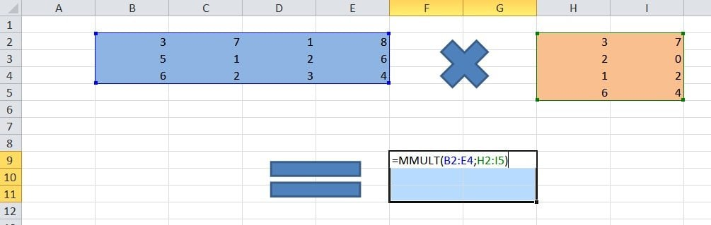 multiplicacion de matrices excel
