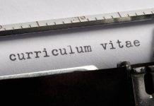 curriculum vitae written on an old typewriter